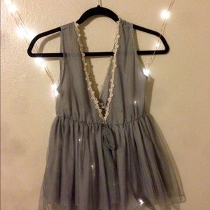 Gorgeous Babydoll Gray Lacey Top